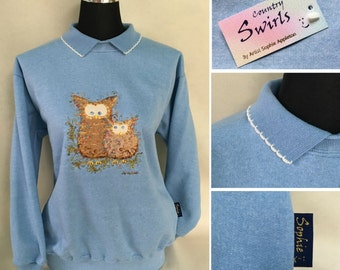 Bird Sweatshirt with collar Vintage Blue colour sweater , Owl embroidery designed by popular Contemporary British Artist Sophie Appleton.