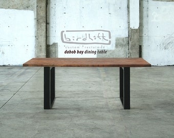 dining table from reclaimed wood with high recycled content steel legs - modern industrial - urban salvage - by custom order