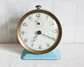 Vintage French Mechanical Light Blue Alarm Clock || Retro/ Mid Century Clock