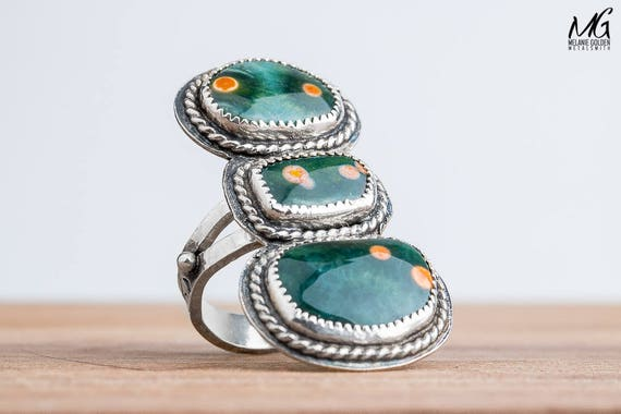Green Ocean Jasper Gemstone Ring in Sterling Silver - Size 7.75