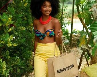 Rooted Treasure Natural Jute Tote Bag