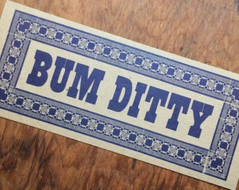 BANJO sign, BUM DITTY Letterpress poster Blue/classic Country music/Old Time Music/Clawhammer Banjo/gifts for musicians/letterpress poster