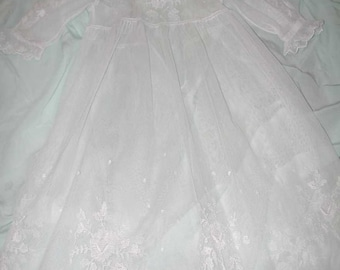No. 500 LOVELY Hand Embroidered Tulle Christening Dress  (Edwardian)