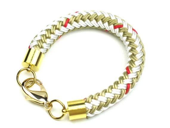 Rope Bracelet in Beige and Gold with Chunky Boating Cord and Gold Plated Lobster Clasp