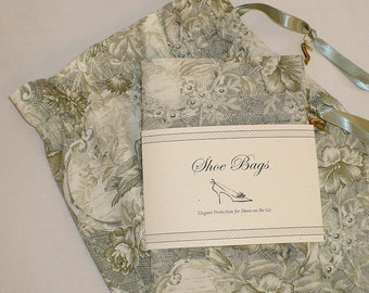 Green Toile, Shoe Bags, Travel, Lingerie, Shoe Storage, Set of 2, drawstring bags, Mother's Day