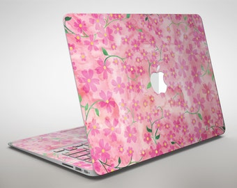 Flowers with Stems over Pink Watercolor - Apple MacBook Air or Pro Skin Decal Kit (All Versions Available)