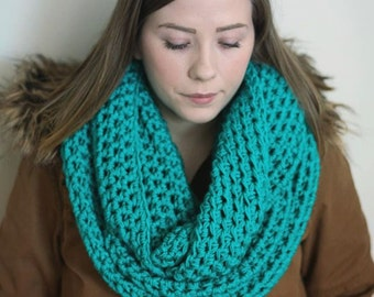 Teal infinity scarf, chunky oversized scarf, blue green cowl, vegan clothing, circle scarf, knit infinity scarf, crocheted infinity scarf