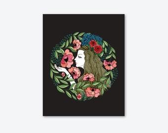 ART Print/illustration/Flamenco with comb/home decor/women/drawing/flowers/by Elisabeth Aranda