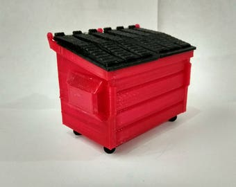 Mini dumpster box, 7cm long, 3D Printed, bin, container, office