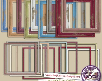Wooden Shabby Frames, Square Shabby painted frames, Painted frames, Square frames, Digital Frames, Shabby painted wooden frame clipart