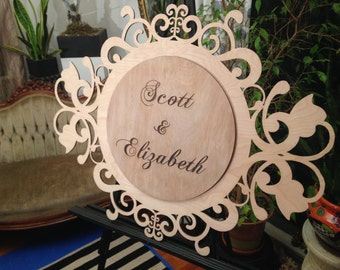 Wooden Wedding Monogram - Customizable - Regency Style - Full names etched on 2nd layer -