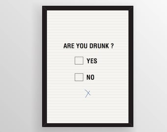 Affiche A3 à télécharger ARE YOU DRUNK by Wallshop