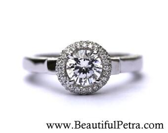 14k White gold - Diamond Engagement Ring - Halo - Unique - Pave - Bph022