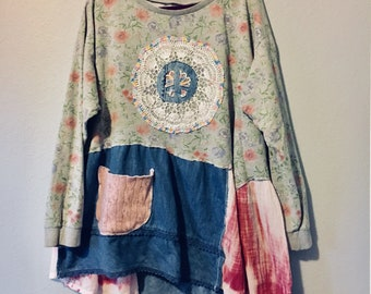 Upcycled tunic, upcycled clothing, womens XL, floral tunic, peace sign,