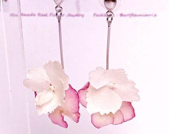 Handmade real flower Earrings 3D,  Pressed Flower Earrings, 925 silver earrings with pearl, hydrangea earrings, Christmas gift