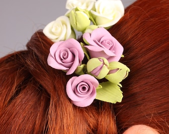 clay hair flowers, hair pin, hair decoration, hair accessories, white and violet roses