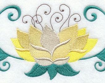 Lotus Flower Embroidered Flour Sack Hand/Dish Towel