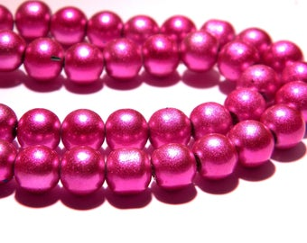 bright Pearly glass - 8 mm-bright fuchsia - PG81 10 beads