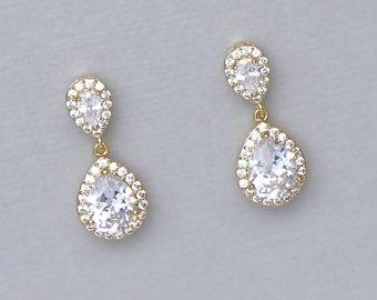Gold Crystal Drop Earrings, Gold Teardrop Earrings, Crystal Bridal Earrings, Bridal Jewelry, Bridesmaid Earrings, TAMARA G