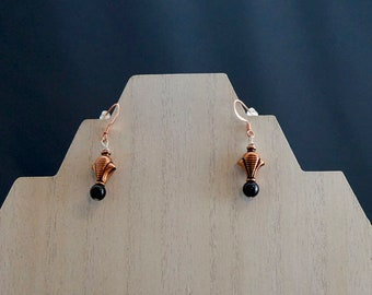 Copper and Onyx Earrings