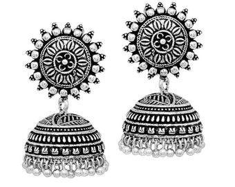 Beautiful Sun Flower Stud Oxidised Silver Plated  Jhumka jhumki Earrings Jewelry For Women & Girls party wear jewelry (Free Shipping)