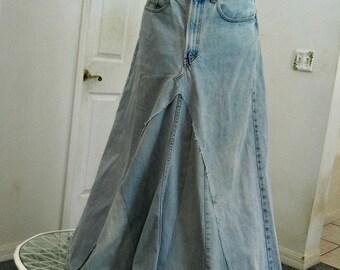 Gap vintage ballroom jean skirt high waisted Renaissance Denim Couture fairy goddess mermaid belle bohémienne