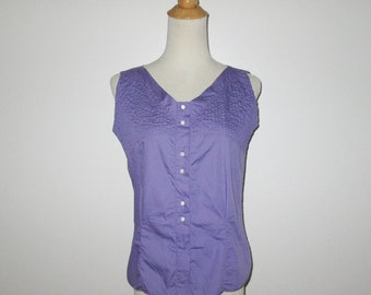 Vintage 1950s 1960s Purple Sleeveless Blouse / 50s 60s Purple Pintuck Sleevless Blouse Top By Ship 'n Shore - Size M