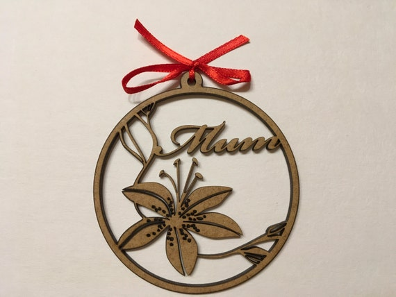 Personalised Wooden Gift for Mom Wooden monogram Personalised bauble Custom name ornament Laser cut flower Wooden flowers Hanging decoration