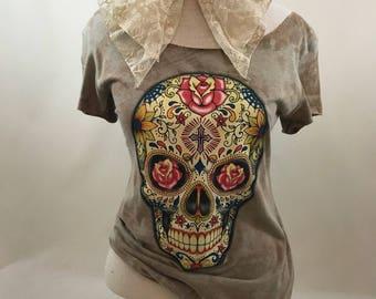 Skulls and Roses II Shirt bleached cut punk