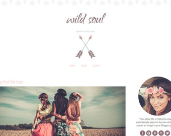 Blogger Template -  Arrow Blogger Template - Boho Chic Blog Template - Mobile Responsive - Wild Soul
