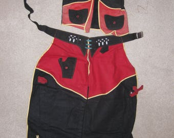 1940's Antique Boys/Girls Black and Red Cowboy Vest and Chaps