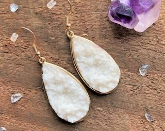 White Teardrop Druzy Earrings, Gemstone Earrings, Boho Earrings, Healing Crystal Earrings, Bohemian Druzy Metaphysical Jewelry New Age