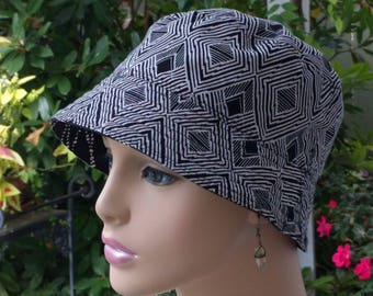 Womens Chemo Hat Sun Hat Cancer Hat Bucket Hat Black Hat Made in the USA SMALL/MEDIUM