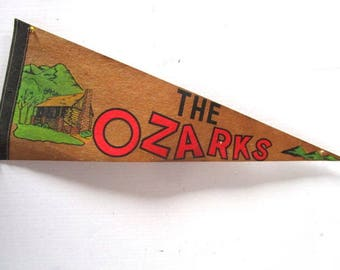 Ex Lrg Vintage Pennant Souvenir, The Ozarks, Mountain Log Cabin, Central US Tourist Travel Family Vacation, Brown, Upcycle Craft, Felt Flag