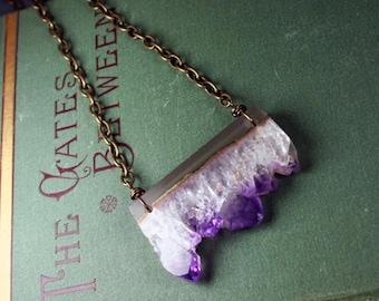 Brazilian Amethyst Druzy Slice Pendant Hand Wrapped Necklace