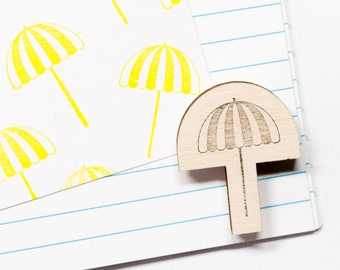 Beach rubber stamp, parasol stamp, umbrella, beach, summer stamps, diy stationery, for crafters, scrapbooking, studio maas