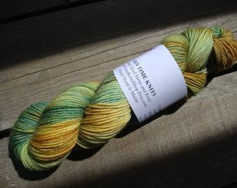 "Hand Dyed Yarn Wool MCN DK ""Summer Woods""  merino, cashmere, nylon"