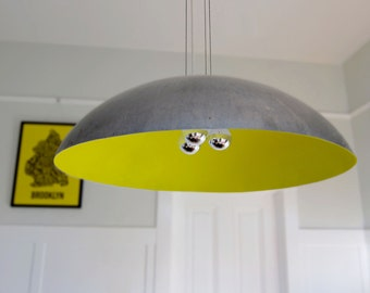 "Large 26"" Steel Dome Pendant Light, custom color"