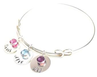 Sterling Silver Bangle Bracelet - name bangle bracelet - hand stamped adjustable layer bracelet - Mother's day