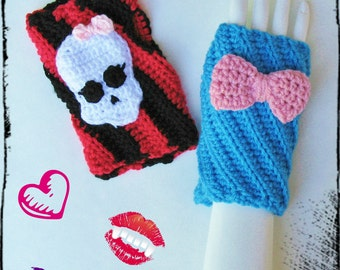 ON SALE Monster High Wristwarmers, Texting Gloves, Fingerless Mitts, Adorable Monster High Costume Accessory, Ready to Ship