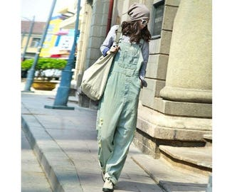 Womens Loose Fitting Casual Cotton Denim Jumpsuits Overalls Pants With Pockets,Womans Jumpsuits Pants,Casual Pants,Loose Pants,Baggy Pants