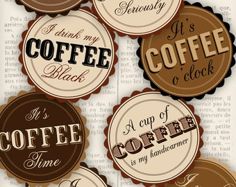 Retro Coffee Badges 2.75 inch circles business brown sepia crafting art hobby instant download digital collage sheet - VDMIRE1111