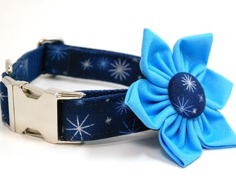 Handmade Dog Collar and Collar Flower Set - Holiday Shine in Blue - Custom Made Holiday Dog Collar with matching flower in Navy Blue
