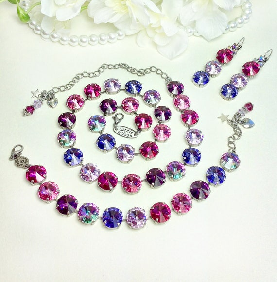 """Swarovski Crystal 12MM  """"Lilacs and Roses"""" Necklace - Gorgeous Rosy Pinks, Fuchsia, Violets and Amethyst- Designer Inspired -  FREE SHIPPING"""