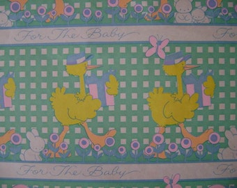 Vintage 1960s Gift Wrap for BABY- 1 Sheet Vintage Wrapping Paper --Storks a Go Go