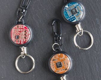 Retractable badge holder, Circuit board keychain, Geeky Office Gift, Graduation Gift