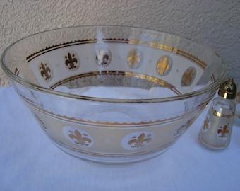 Vintage Glass 5 piece Salad Bowl Set, Gold Trimmed, Etched Glass, Salt and Pepper Shakers, Oil and Vinegar Cruets
