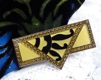 Pierre Bex Style Brooch, Art Deco Revival Brooch, Yellow and Black Enamel Pin, 1970s