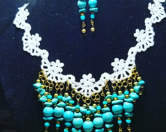 Turquoise and Lace Statement Necklace and Earring Set
