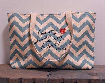 Cotton Canvas Bag. Chevron Bag. Christian tote. Bible tote. Church Bag. Scripture bag. Proverbs 3:5. Handmade bag. Summer bag.Christian gift